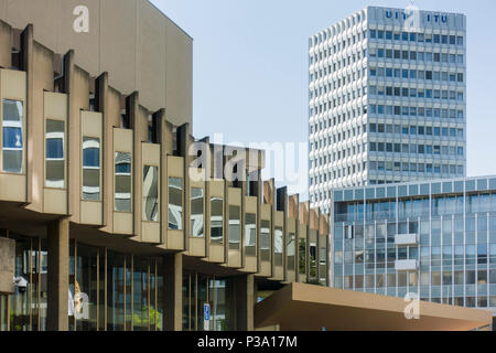 Modern Office Blocks in the Nations district of Geneva, the International Telecommunication Union Headquarters in the background. - Stock Image