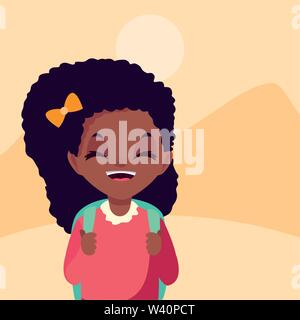 school girl with bag in the outdoors vector illustration - Stock Image