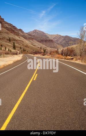 Oregon Back Road Mountain Winter Wallowa Whitman National Forest - Stock Image