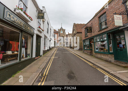View of St. Mary's Church at the top of Lion Street, Rye, East Sussex, England, UK - Stock Image