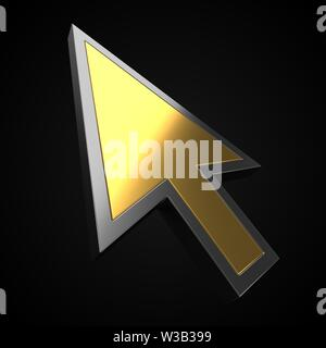 golden luxury cursor on black background. suitable for internet, computer and technology themes. 3d illustration - Stock Image