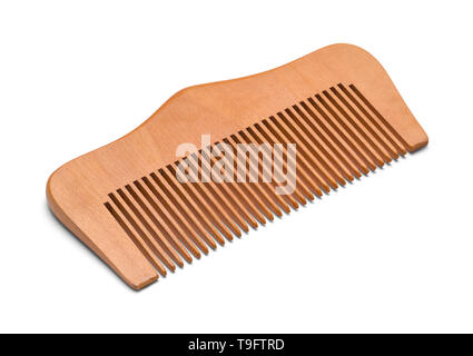 Wood Hand Comb Isolated on a White Bakground. - Stock Image