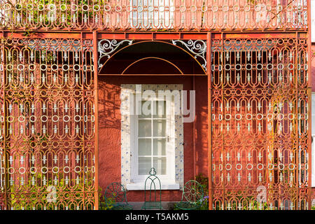 Glebe House and Gallery. Iron work detail. View from rear back gardens. County Donegal, Ireland - Stock Image