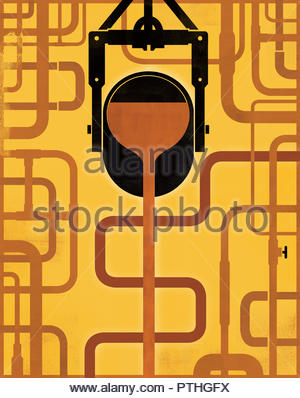 Molten gold pouring into complex pipework system - Stock Image
