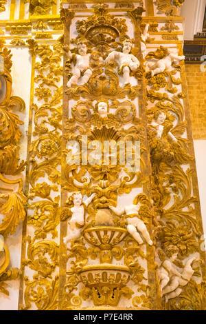 Italy Sicily Agrigento old town Cathedral Duomo Cattedrale Museo Diocesano Church religion Christian Catholic wall column detail gilt gold cherubs - Stock Image
