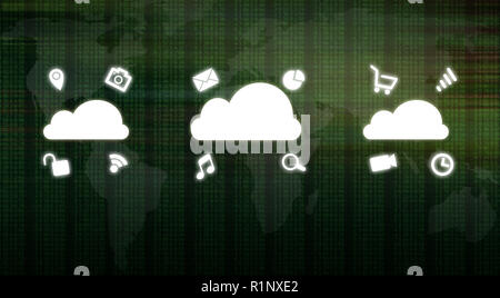Global cloud computing concept showing media icons over binary code numbers and world map background. Big data information technology future in modern - Stock Image