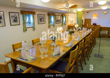 The Wardroom, Royal Yacht Britannia, Port of Leith, Edinburgh, Scotland, UK - Stock Image