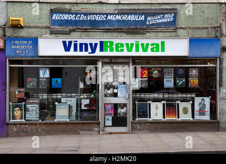 Vinyl Revival shop, Hilton Street, Northern Quarter, city centre, Manchester, UK (Round corner from Oldham St + - Stock Image