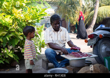 Muslim family - a father prepares fish for a meal watched by his young son and wife,  Ukulhas island, Alif Alif atoll, the Maldives, Asia - Stock Image