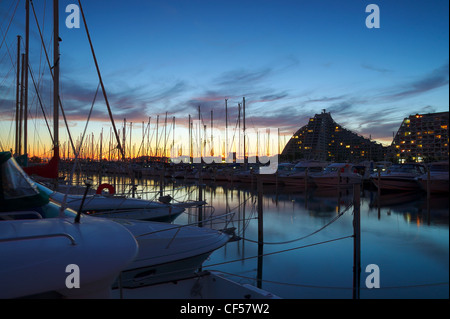 Yacht Port in La Grande Motte at the Mediterranean sea, France - Stock Image
