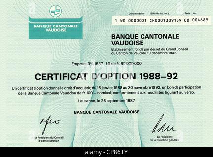 Historic stock certificate, Securities certificate, bearer warrant, Historisches Wertpapier, Inhaber-Optionsschein, - Stock Image