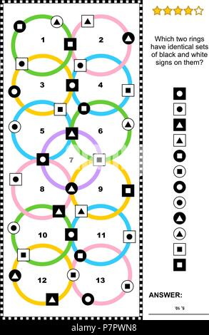 IQ training abstract visual puzzle (suitable both for kids and adults): Which two rings have identical sets of black and white signs on them? - Stock Image