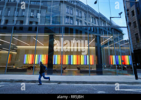 Colourful swatches light panels in reception area of office on Little Britain in City of London, London, England, UK - Stock Image