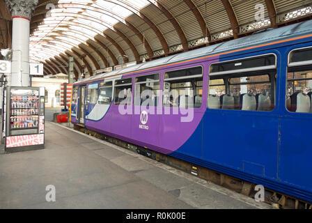 Empty Metro train at the station York North Yorkshire England UK United Kingdom GB Great Britain - Stock Image