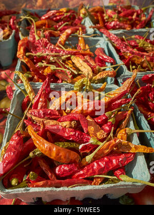 Dried peppers on sale at the Union Square Greenmarket in Manhattan, New York, USA - Stock Image