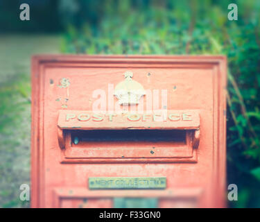 A red mailbox. - Stock Image