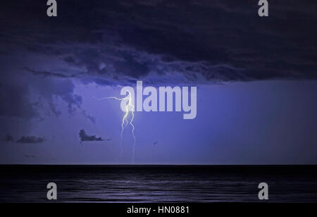 Branch lightning over Lake Ontario from Humber Bay, Toronto in summer - Stock Image