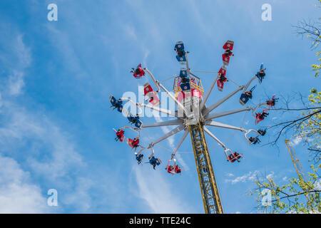 skyhawk ride is an interactive amusement park ride in canada's wonderland - Stock Image
