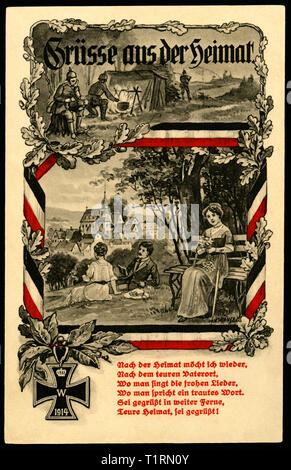 Germany, Saxony, Dresden, Klotzsche, WW I, propaganda, patriotic postcard with different situations of an man, as a privat man and as a soldier, edged by black-white-red ribbon, an Iron Cross and an poem, postcard sent 14. 06. 1915. , Additional-Rights-Clearance-Info-Not-Available - Stock Image