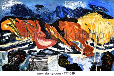 The Deluge by Karel Appel born in 1921 Dutch painter, (sculptor,  poet, Avant-garde movement Cobra), The, Netherlands. - Stock Image
