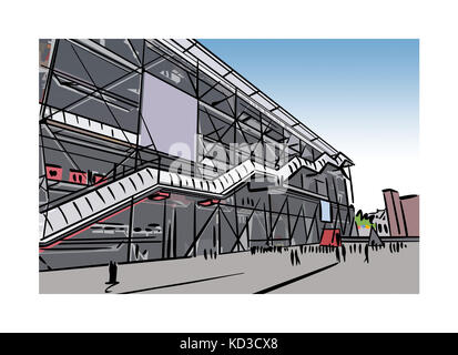 Illustration of the Pompidou Center courtyard in Paris, France - Stock Image
