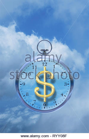 Time is money time management time cost watch with dollar sign in the clouds. - Stock Image