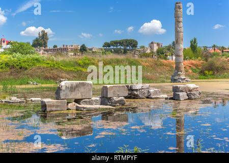 Ruins of Temple of Artemis, Ephesus, Selcuk, Izmir Province, Turkey - Stock Image