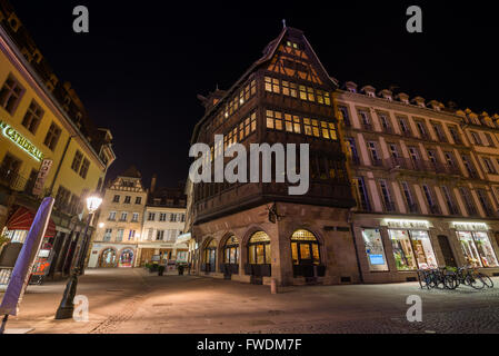 Strasbourg in the night, France, Europe. - Stock Image