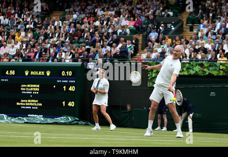John McEnroe on No.1 court at The All England Lawn Tennis Club, London. - Stock Image
