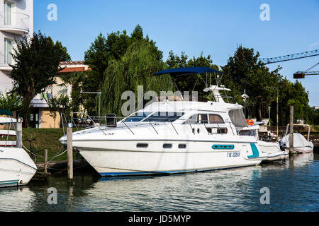 Beautiful yacht moored at the dock in Caorle - Stock Image