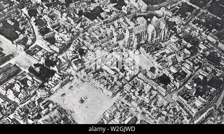 City of St. Quentin, as seen from a balloon 500 meters in the air. France ca. 1918 - Stock Image