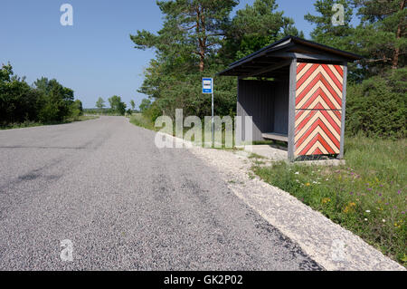Mäla bus stop decorated with the national pattern of Muhu. Island Muhu. Estonia - Stock Image