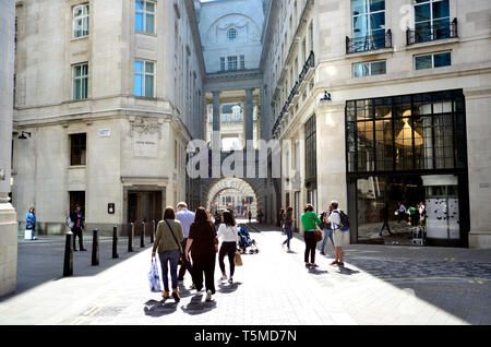 London, England, UK. Rear of the Hotel Cafe Royal, in Glasshouse Street, looking through arch towards Regent Street - Stock Image