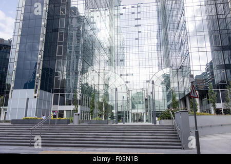 The Exchange Tower at Harbour Exchange Square in South Quay, Isle of Dogs, London. - Stock Image