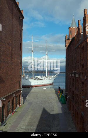 view from new ozeaneum building  to ship gorch fock and the city center of stralsund, western pomerania, germany - Stock Image