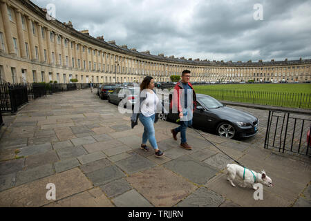 Bath Somerset England UK. June 2019 The Royal Crescent. The Royal Crescent is a row of 30 terraced houses laid out in a sweeping crescent in the city - Stock Image