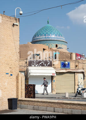 Yazd, Iran - March 7, 2017 : Tiled dome of Bogheh-ye Sayyed Roknaddin mausoleum ( 13th century ). Yazd is a desert city in central Iran and is listed  - Stock Image