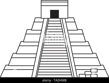 Kukulkan pyramid landmark design, Travel trip vacation tourism journey and tourist theme Vector illustration - Stock Image