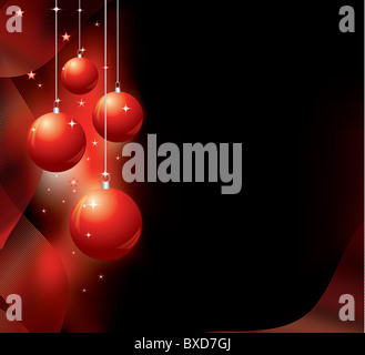 Christmas background with red baubles - Stock Image