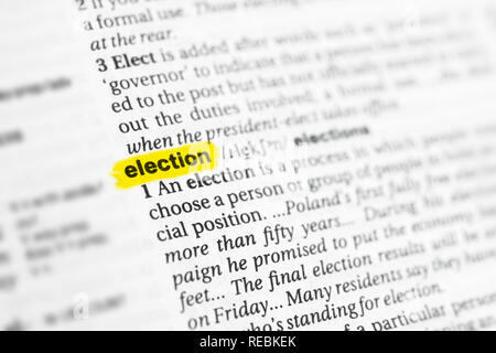Highlighted English word 'election' and its definition at the dictionary. - Stock Image