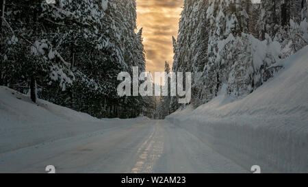Mountain road highway 120 towards Yosemite, California, USA, on a winters day featuring snow on the ground, uplowed, signaling dangerous driving condi - Stock Image
