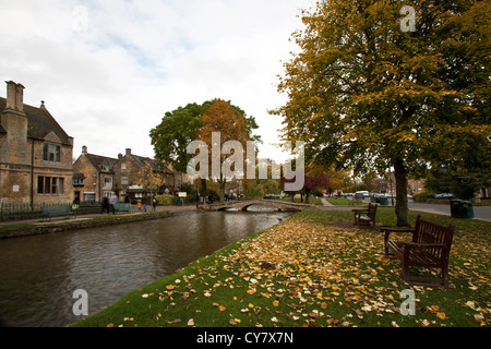 Bourton on the Water in Autumn - Stock Image