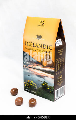 Box of Icelandic chocolates with pictorial view of the island - Stock Image