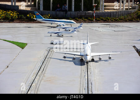 Scale model of airplanes in Israel, Mini Israel attractions - Stock Image