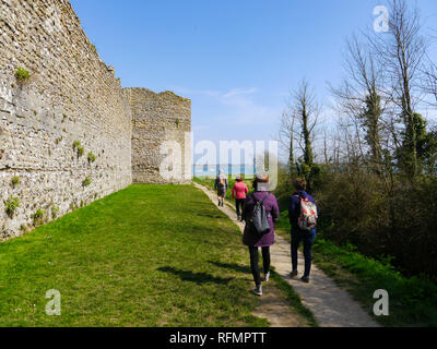 The external Roman walls of Portchester castle, Hampshire England - Stock Image