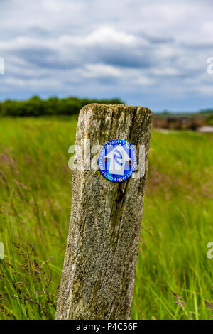 Circular Northumberland Coast Path sign on a wooden post - Stock Image