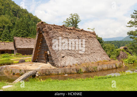 Matadate shed (A-framed temporary residence, circa 19th c.) in Ogimachi gassho style village. UNESCO site of Japan - Stock Image