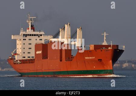 General cargo vessel Snoekgracht outbound Kiel Fjord - Stock Image