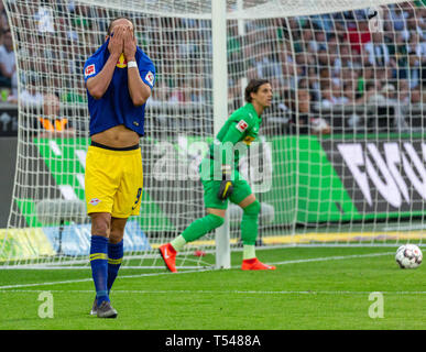 sports, football, Bundesliga, 2018/2019, Borussia Moenchengladbach vs RB Leipzig 1-2, Stadium Borussia Park, scene of the match, Spielszene, Yussuf Poulsen is in disbelief that he missed a great goal opportunity, behind keeper Yann Sommer (MG), DFL REGULATIONS PROHIBIT ANY USE OF PHOTOGRAPHS AS IMAGE SEQUENCES AND/OR QUASI-VIDEO - Stock Image