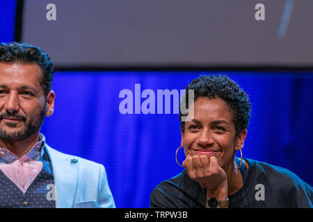 Bonn, Germany - June 8 2019: Cas Anvar and Dominique Tipper at FedCon 28, a four day sci-fi convention. FedCon 28 took place Jun 7-10 2019. - Stock Image